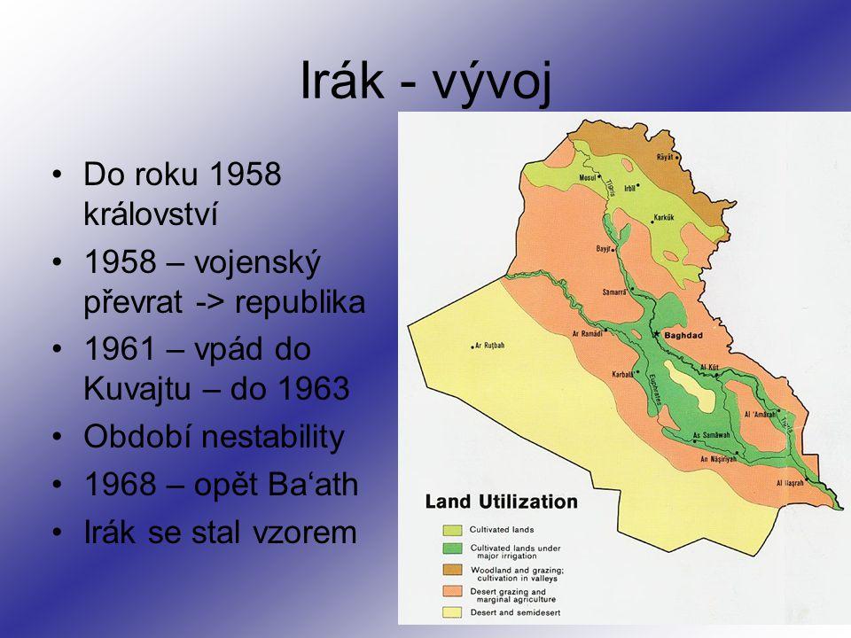 Irák - vývoj Do roku 1958 království