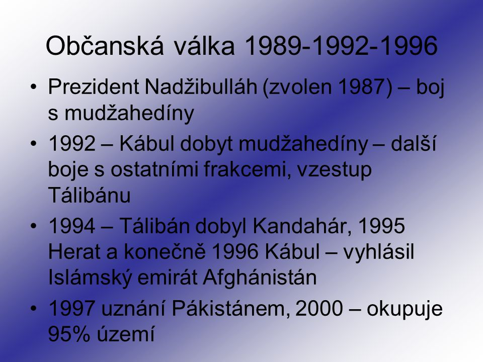 Občanská válka 1989-1992-1996 Prezident Nadžibulláh (zvolen 1987) – boj s mudžahedíny.