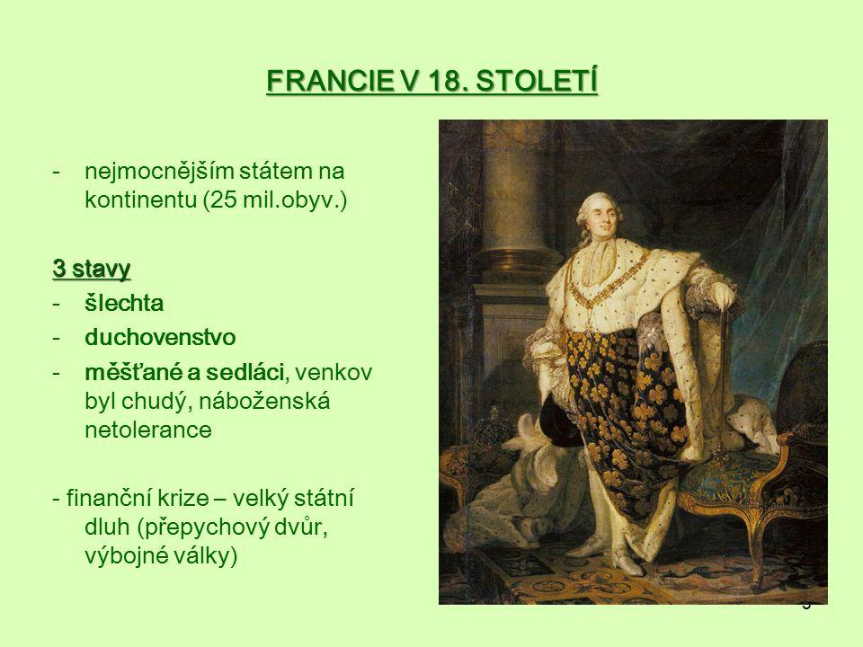 FRANCIE V 18. STOLETÍ nejmocnějším státem na kontinentu (25 mil.obyv.)