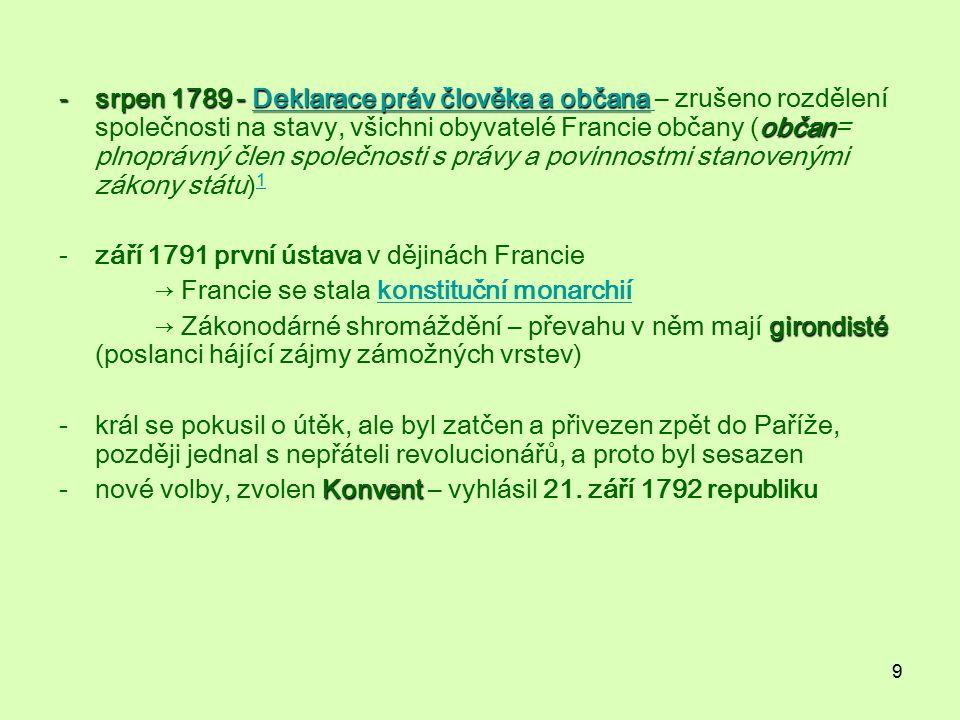 srpen 1789 - Deklarace práv člověka a občana – zrušeno rozdělení společnosti na stavy, všichni obyvatelé Francie občany (občan= plnoprávný člen společnosti s právy a povinnostmi stanovenými zákony státu)1