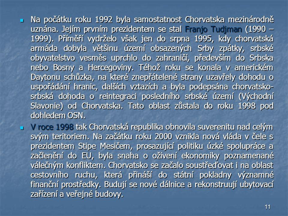 Na počátku roku 1992 byla samostatnost Chorvatska mezinárodně uznána