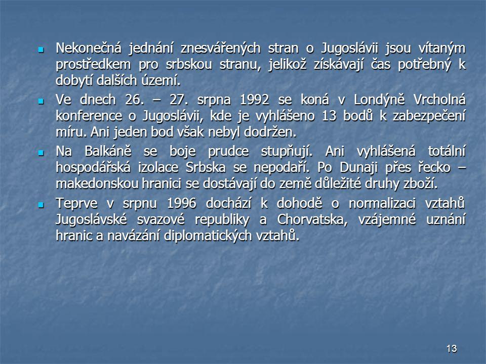 Nekonečná jednání znesvářených stran o Jugoslávii jsou vítaným prostředkem pro srbskou stranu, jelikož získávají čas potřebný k dobytí dalších území.