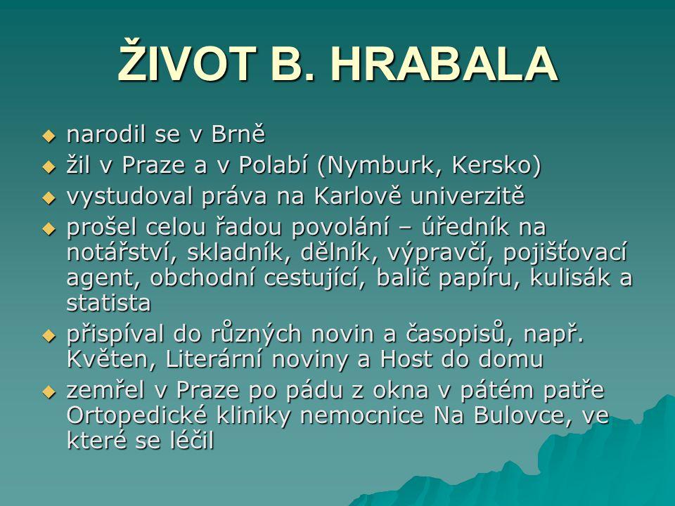 ŽIVOT B. HRABALA narodil se v Brně