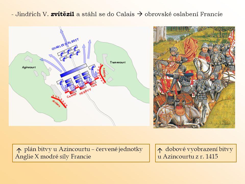 - Jindřich V. zvítězil a stáhl se do Calais  obrovské oslabení Francie
