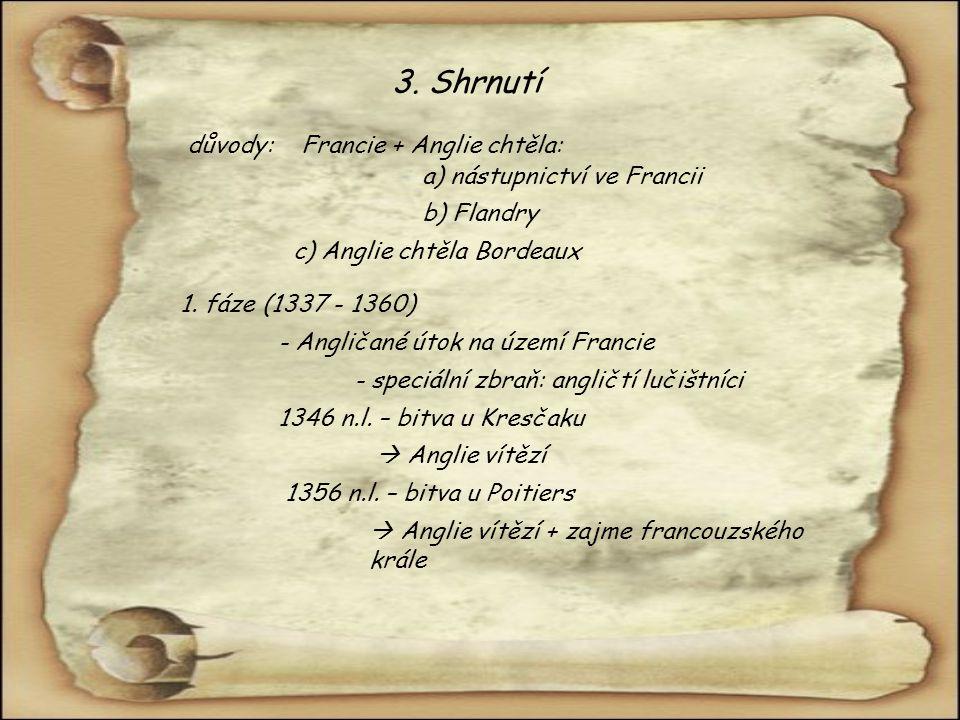 3. Shrnutí důvody: Francie + Anglie chtěla: a) nástupnictví ve Francii