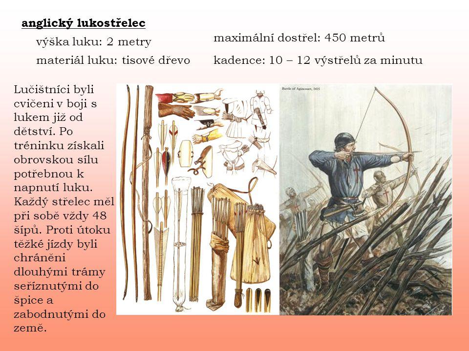 anglický lukostřelec maximální dostřel: 450 metrů. výška luku: 2 metry. materiál luku: tisové dřevo.