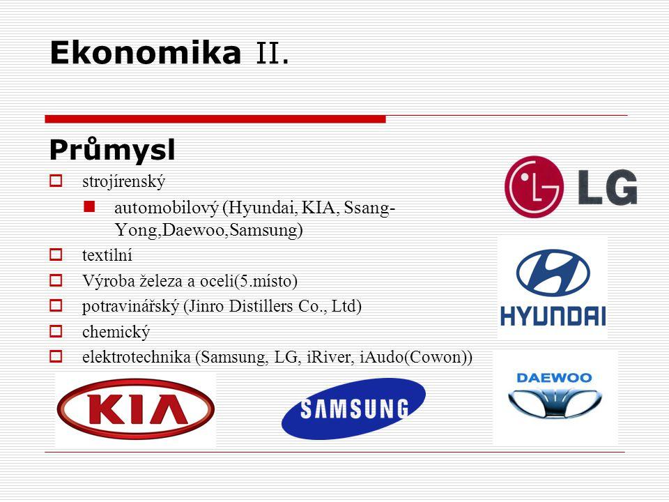 Ekonomika II. Průmysl. strojírenský. automobilový (Hyundai, KIA, Ssang-Yong,Daewoo,Samsung) textilní.