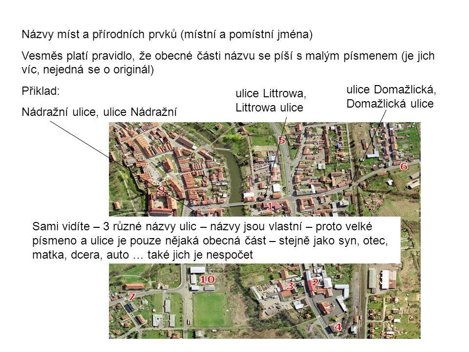 Názvy míst a přírodních prvků (místní a pomístní jména)