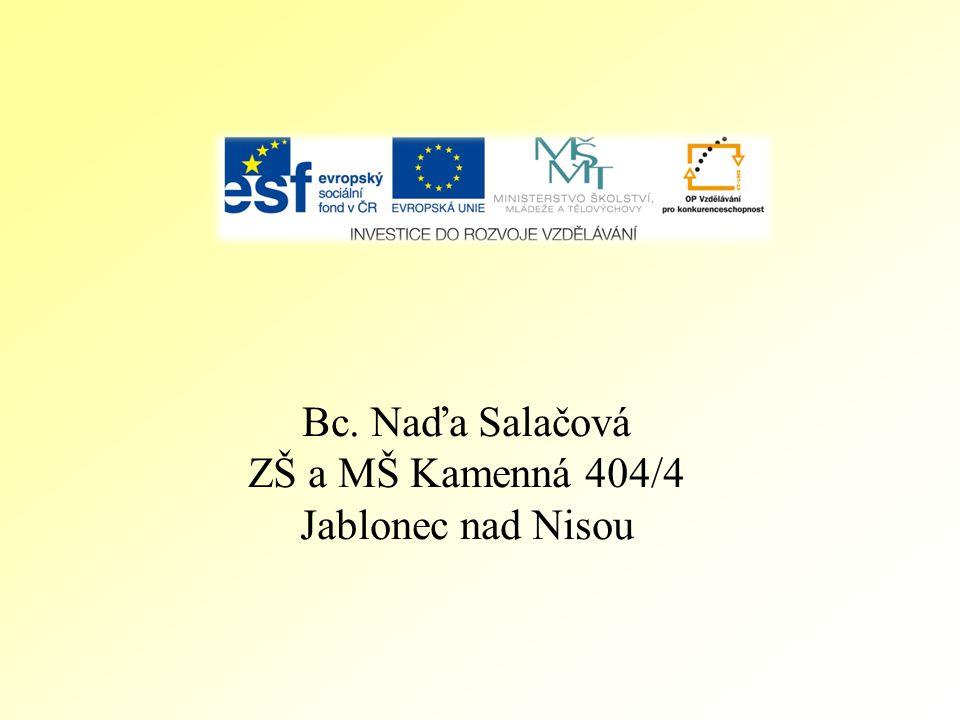 Bc. Naďa Salačová ZŠ a MŠ Kamenná 404/4 Jablonec nad Nisou
