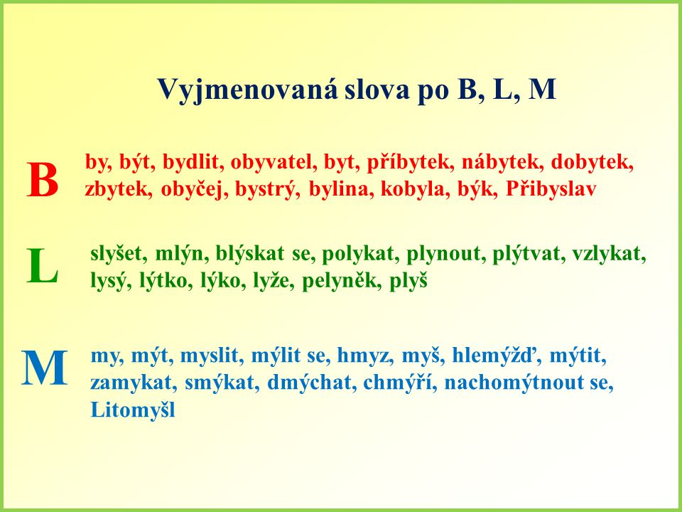 Vyjmenovaná slova po B, L, M