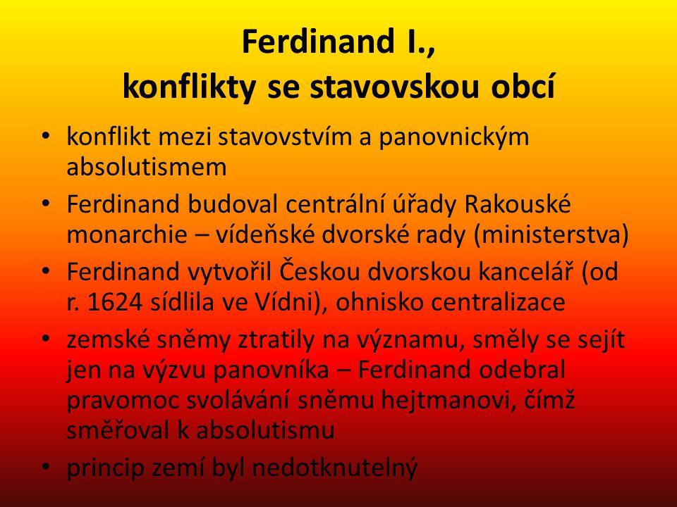 Ferdinand I., konflikty se stavovskou obcí