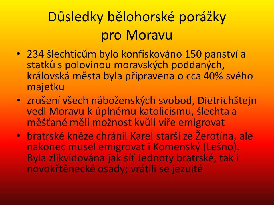Důsledky bělohorské porážky pro Moravu