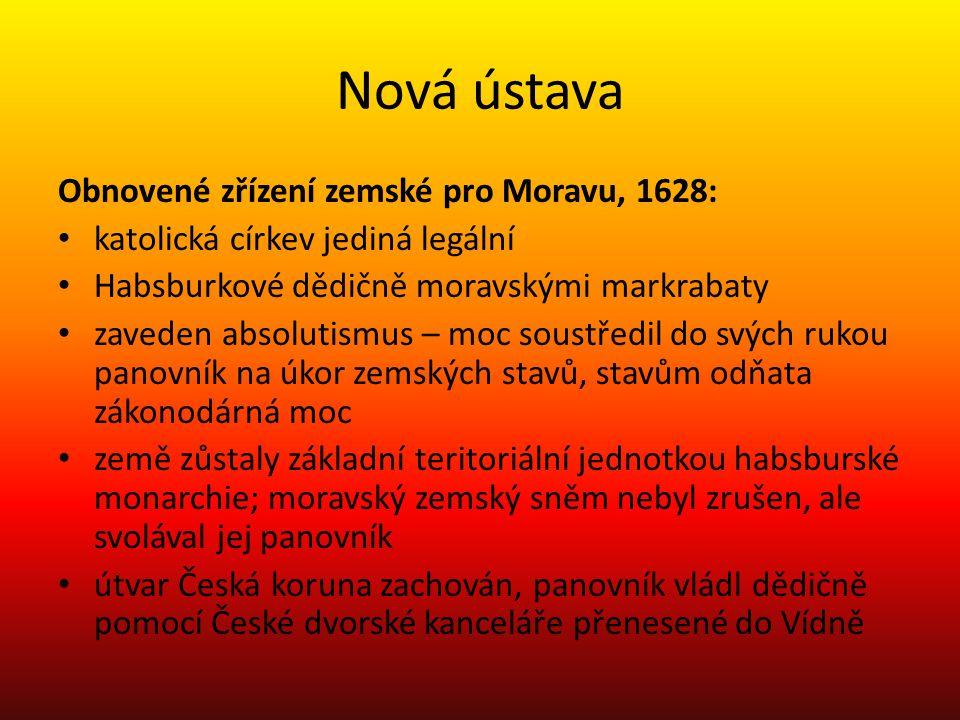 Nová ústava Obnovené zřízení zemské pro Moravu, 1628: