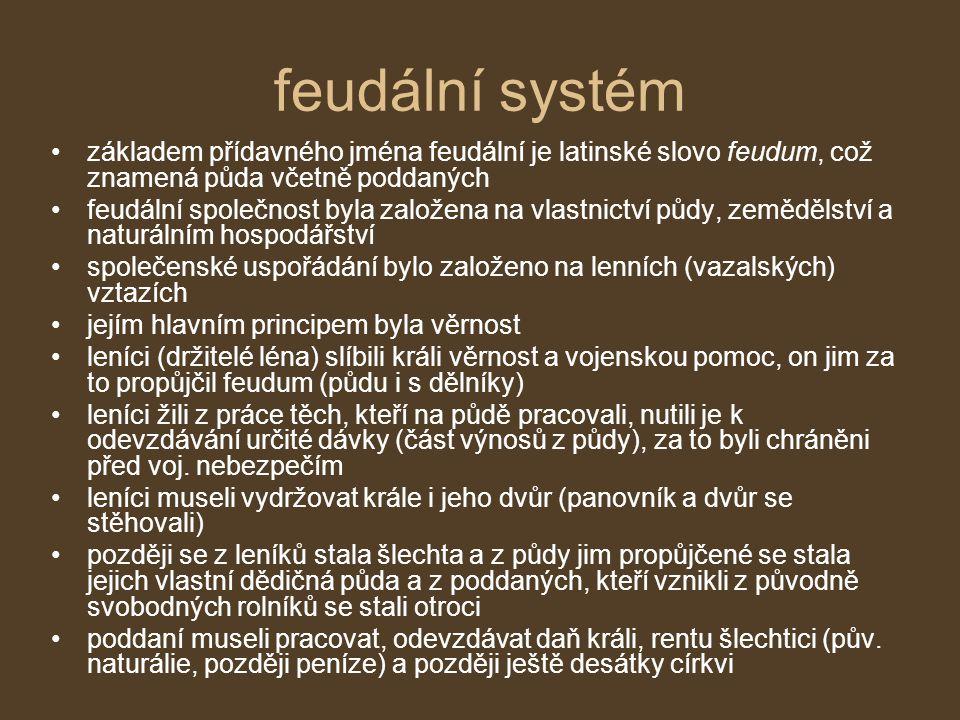 feudální systém základem přídavného jména feudální je latinské slovo feudum, což znamená půda včetně poddaných.