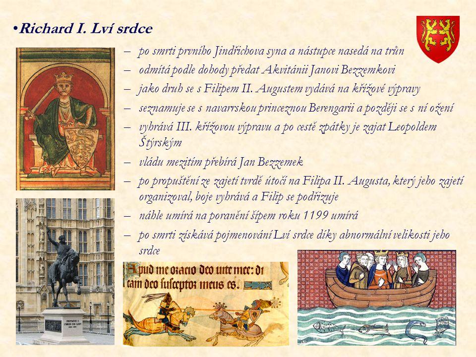 Richard I. Lví srdce po smrti prvního Jindřichova syna a nástupce nasedá na trůn. odmítá podle dohody předat Akvitánii Janovi Bezzemkovi.