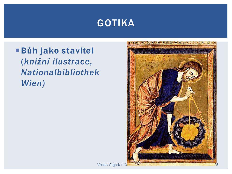 Gotika Bůh jako stavitel (knižní ilustrace, Nationalbibliothek Wien)
