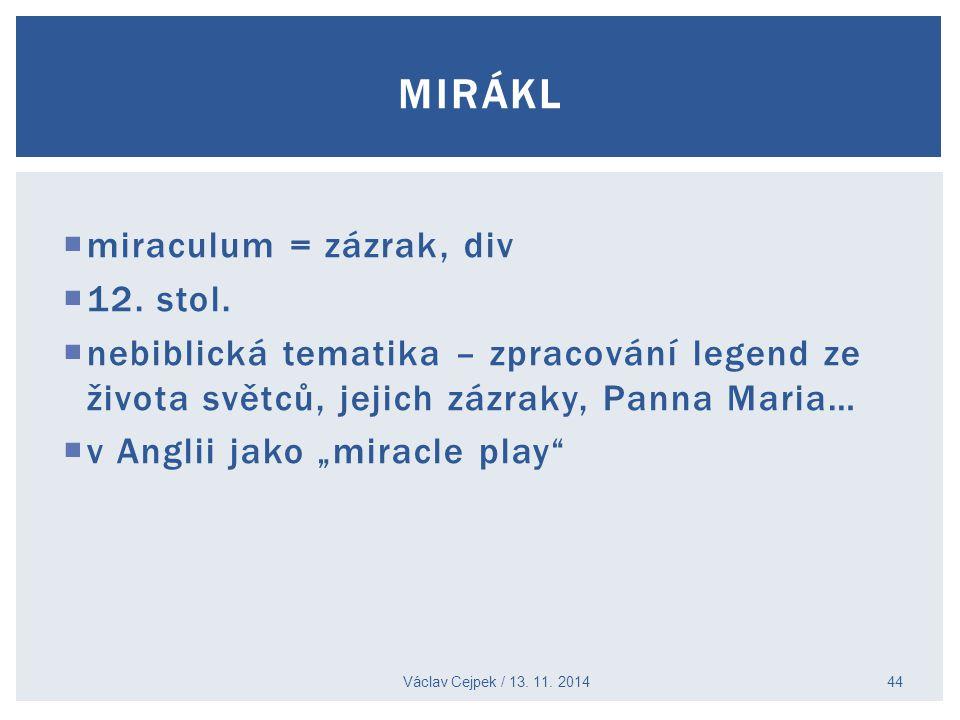 mirákl miraculum = zázrak, div 12. stol.