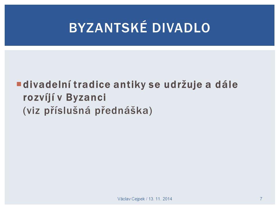 BYZANTSKÉ DIVADLO divadelní tradice antiky se udržuje a dále rozvíjí v Byzanci (viz příslušná přednáška)