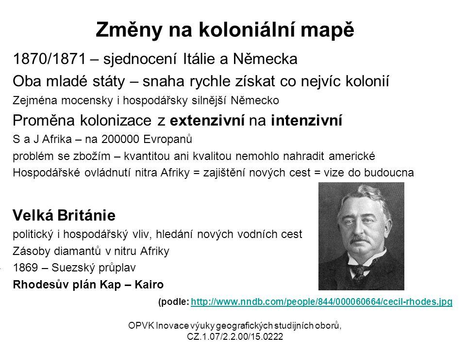Změny na koloniální mapě