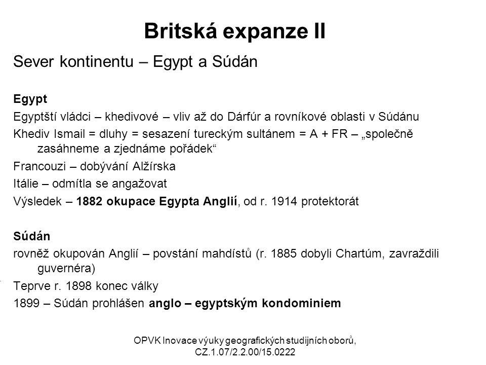Britská expanze II Sever kontinentu – Egypt a Súdán M Egypt