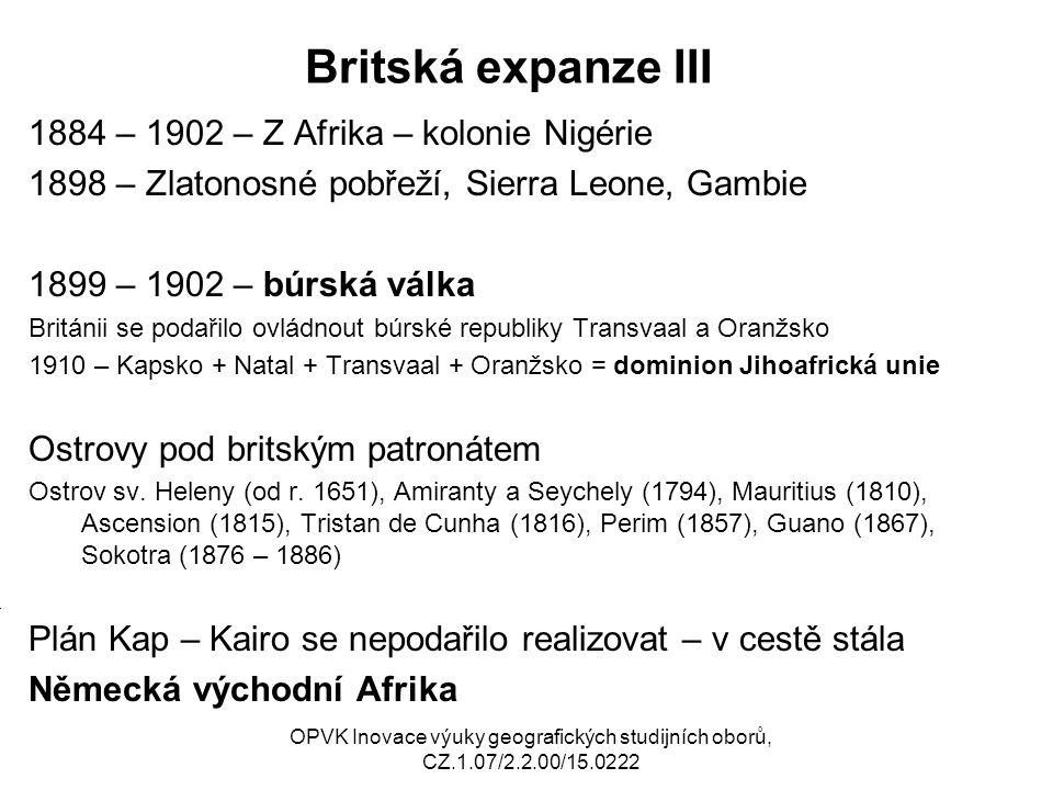 Britská expanze III 1884 – 1902 – Z Afrika – kolonie Nigérie
