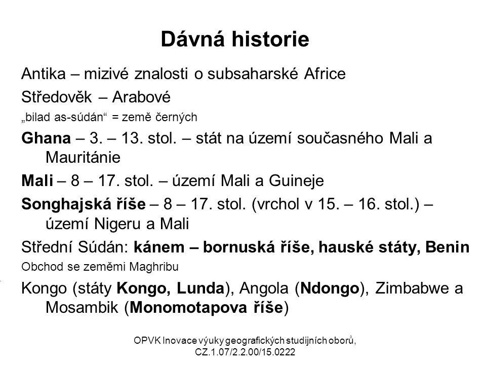 Dávná historie Antika – mizivé znalosti o subsaharské Africe