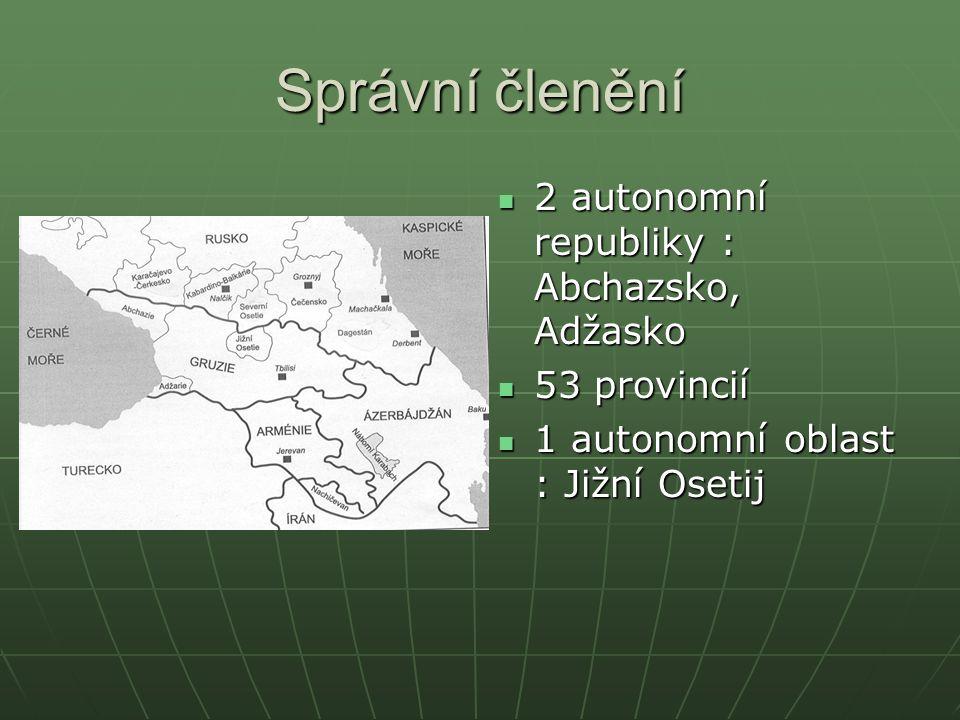 Správní členění 2 autonomní republiky : Abchazsko, Adžasko