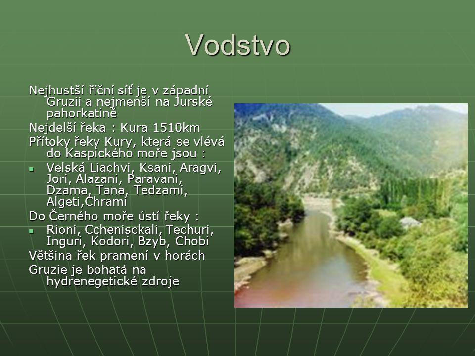 Vodstvo Nejhustší říční síť je v západní Gruzii a nejmenší na Jurské pahorkatině. Nejdelší řeka : Kura 1510km.