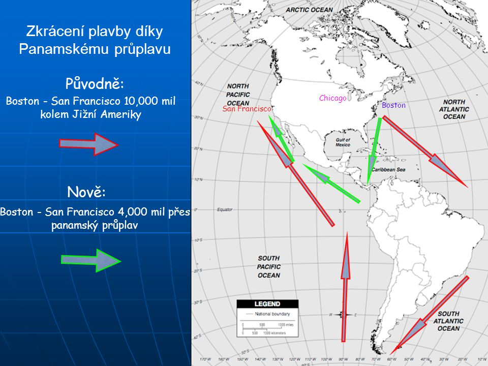 Zkrácení plavby díky Panamskému průplavu