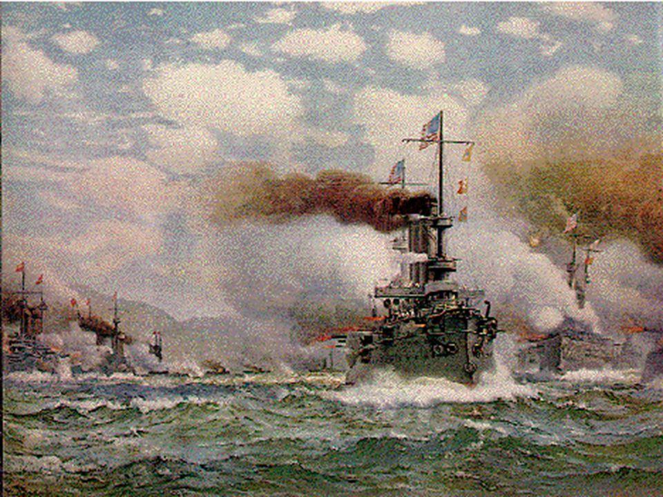 Z dobové zprávy: Když se hustý, černý dým, který zahaloval bitvu, rozptýlil, uviděl španělskou flotilu, pod palbou a hořící.