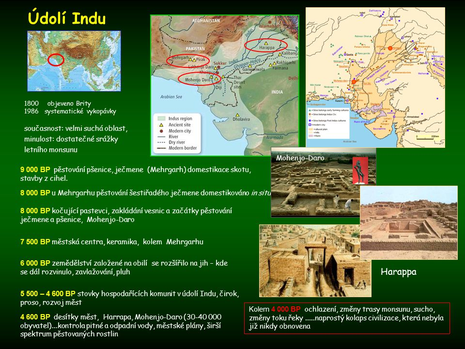 Údolí Indu objeveno Brity. 1986 systematické vykopávky. současnost: velmi suchá oblast, minulost: dostatečné srážky letního monsunu.