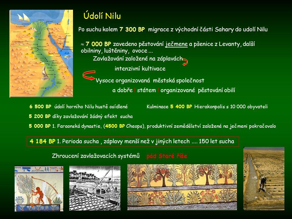 Údolí Nilu Po suchu kolem 7 300 BP migrace z východní části Sahary do udolí Nilu.
