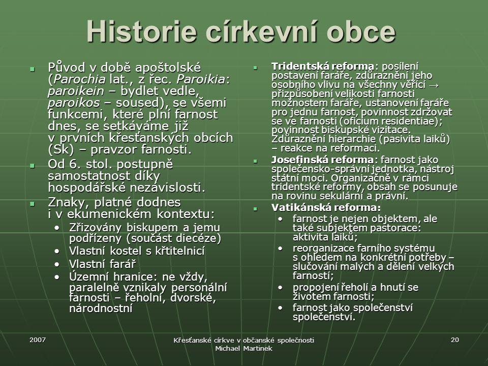 Historie církevní obce