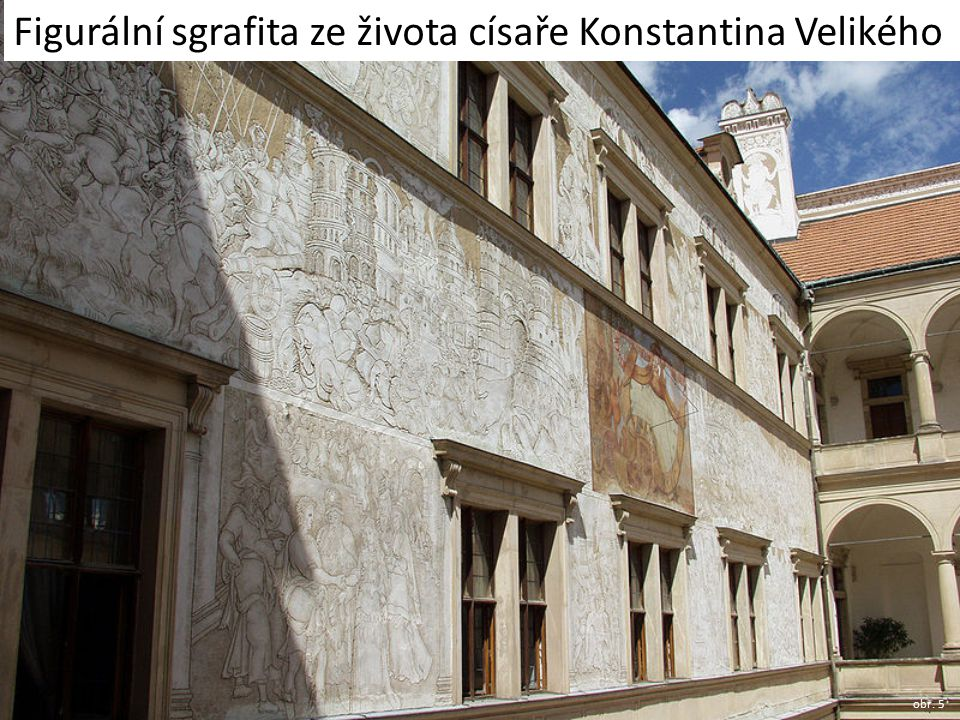 Figurální sgrafita ze života císaře Konstantina Velikého