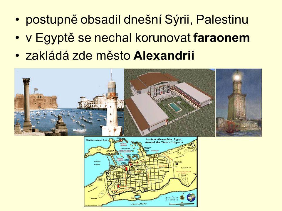 postupně obsadil dnešní Sýrii, Palestinu