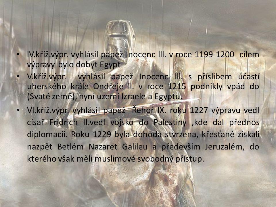 lV. kříž. výpr. vyhlásil papež Inocenc lll