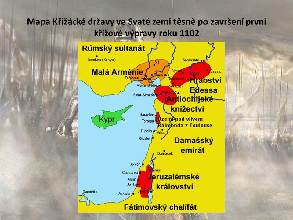 Mapa Křižácké državy ve Svaté zemi těsně po završení první křížové výpravy roku 1102