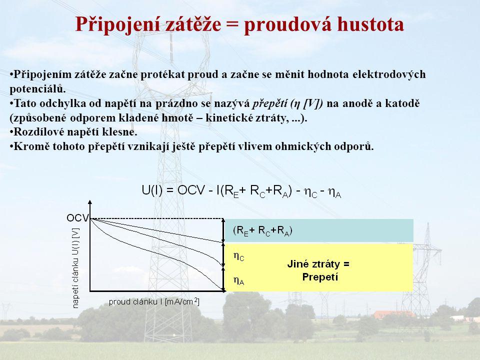 Připojení zátěže = proudová hustota