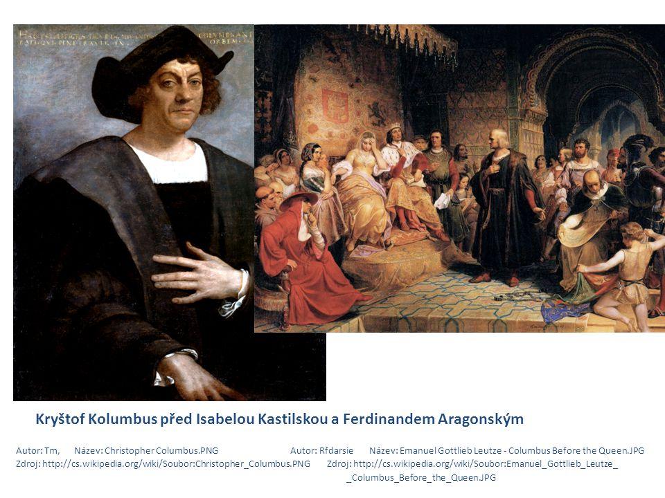 Kryštof Kolumbus před Isabelou Kastilskou a Ferdinandem Aragonským