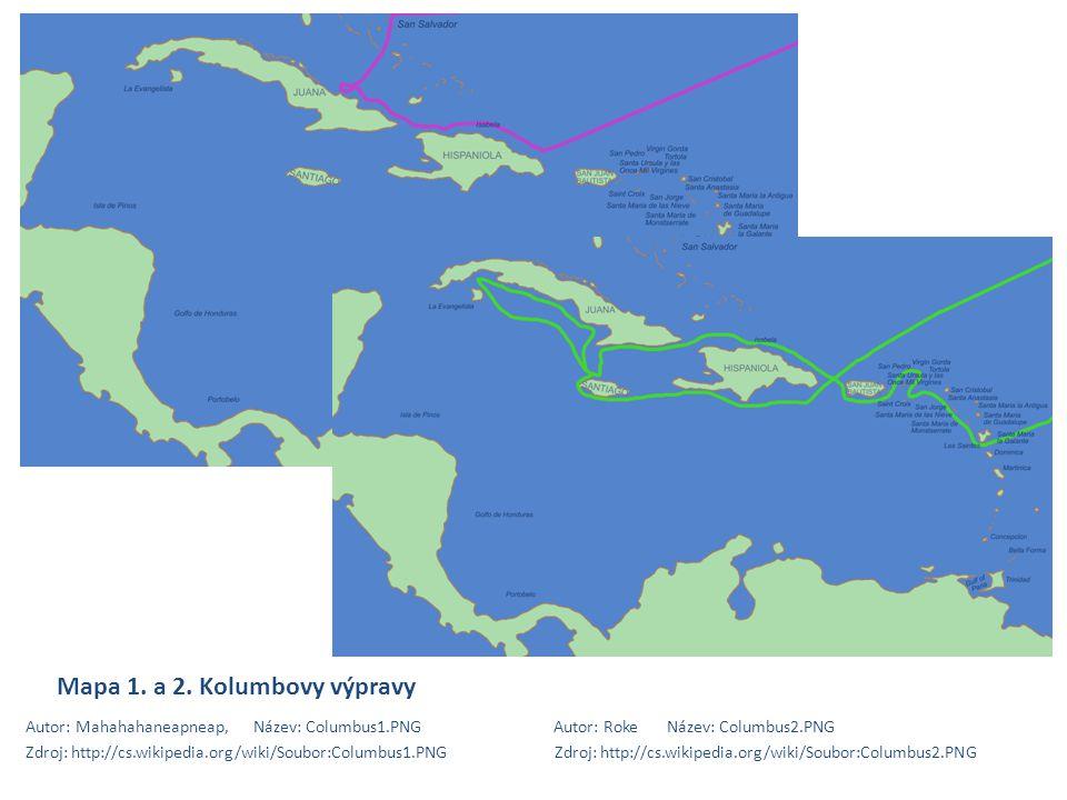Mapa 1. a 2. Kolumbovy výpravy