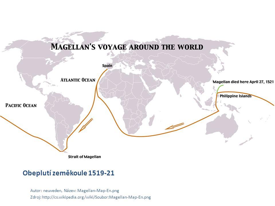 Obeplutí zeměkoule 1519-21 Autor: neuveden, Název: Magellan-Map-En.png