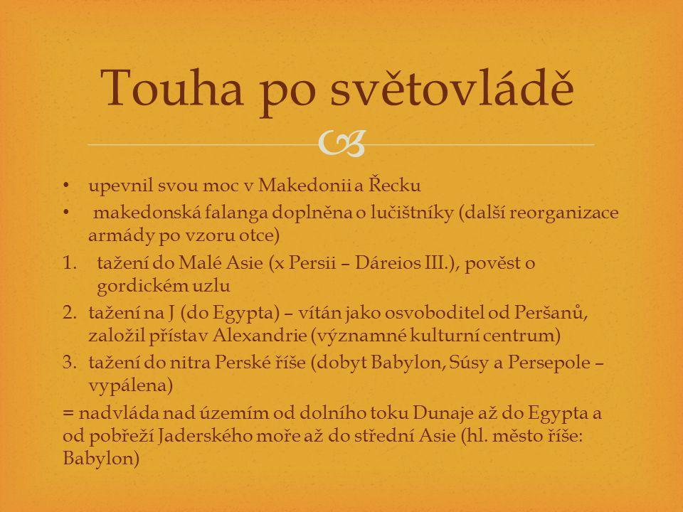 Touha po světovládě upevnil svou moc v Makedonii a Řecku