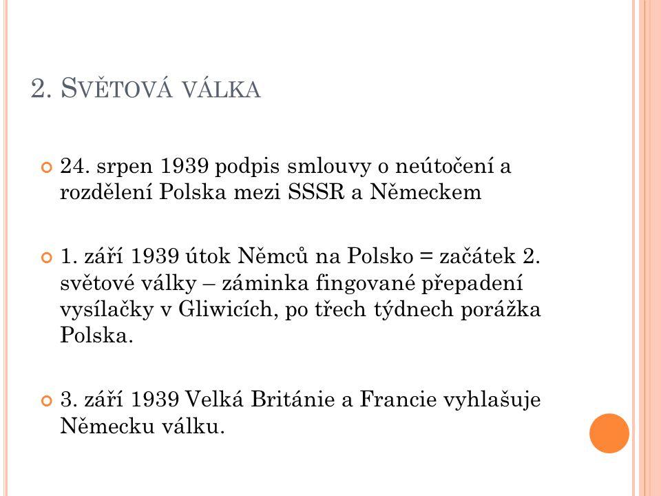 2. Světová válka 24. srpen 1939 podpis smlouvy o neútočení a rozdělení Polska mezi SSSR a Německem.