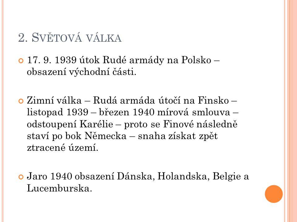 2. Světová válka 17. 9. 1939 útok Rudé armády na Polsko – obsazení východní části.