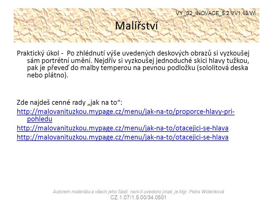 Malířství VY_32_INOVACE_5.2.VV1.13/Wi.