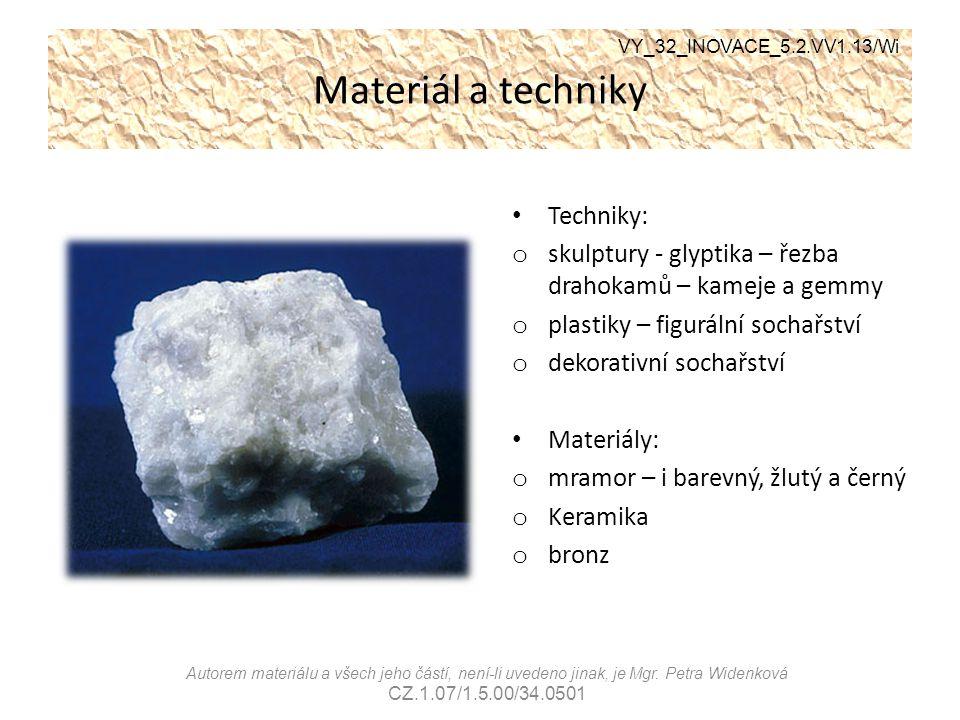 Materiál a techniky Techniky: