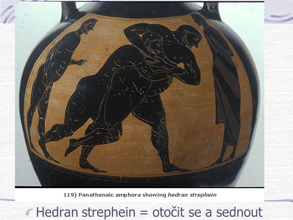 Hedran strephein = otočit se a sednout