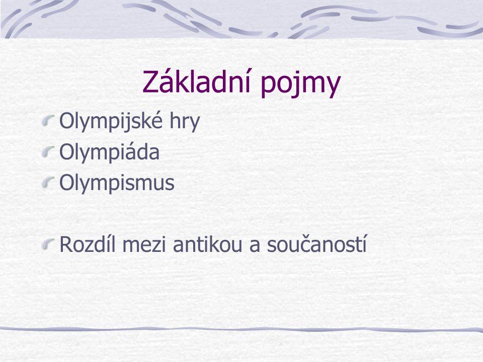 Základní pojmy Olympijské hry Olympiáda Olympismus