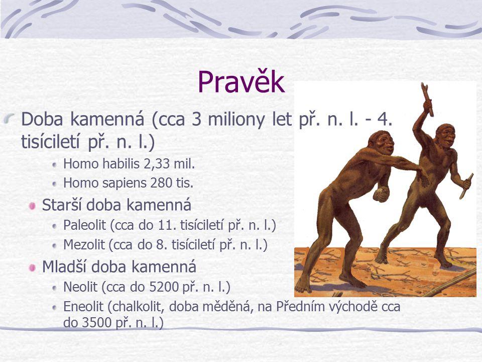 Pravěk Doba kamenná (cca 3 miliony let př. n. l. - 4. tisíciletí př. n. l.) Homo habilis 2,33 mil.