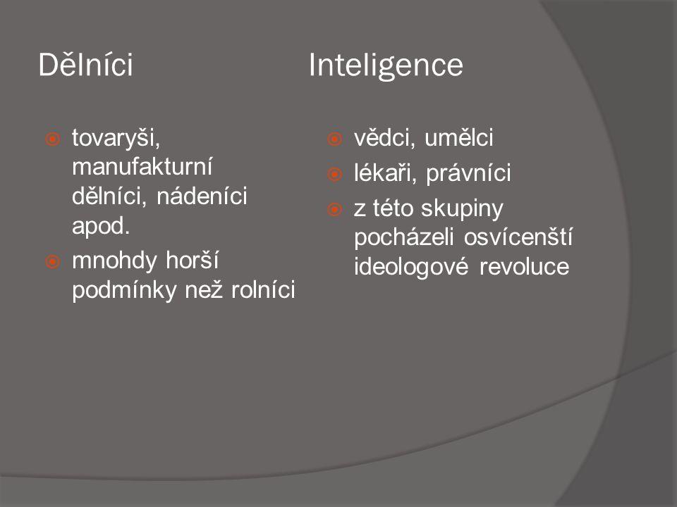 Dělníci Inteligence tovaryši, manufakturní dělníci, nádeníci apod.